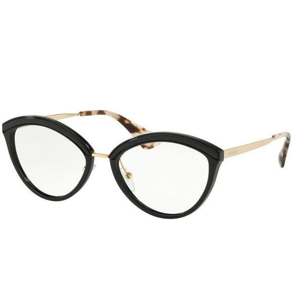 ac9d1d3b Prada PR14UV KUI1O1 Black Gold Eyeglasses RX Frame NWT